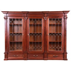 Monumental 19th Century Mahogany and Leaded Glass Triple Bookcase, Restored