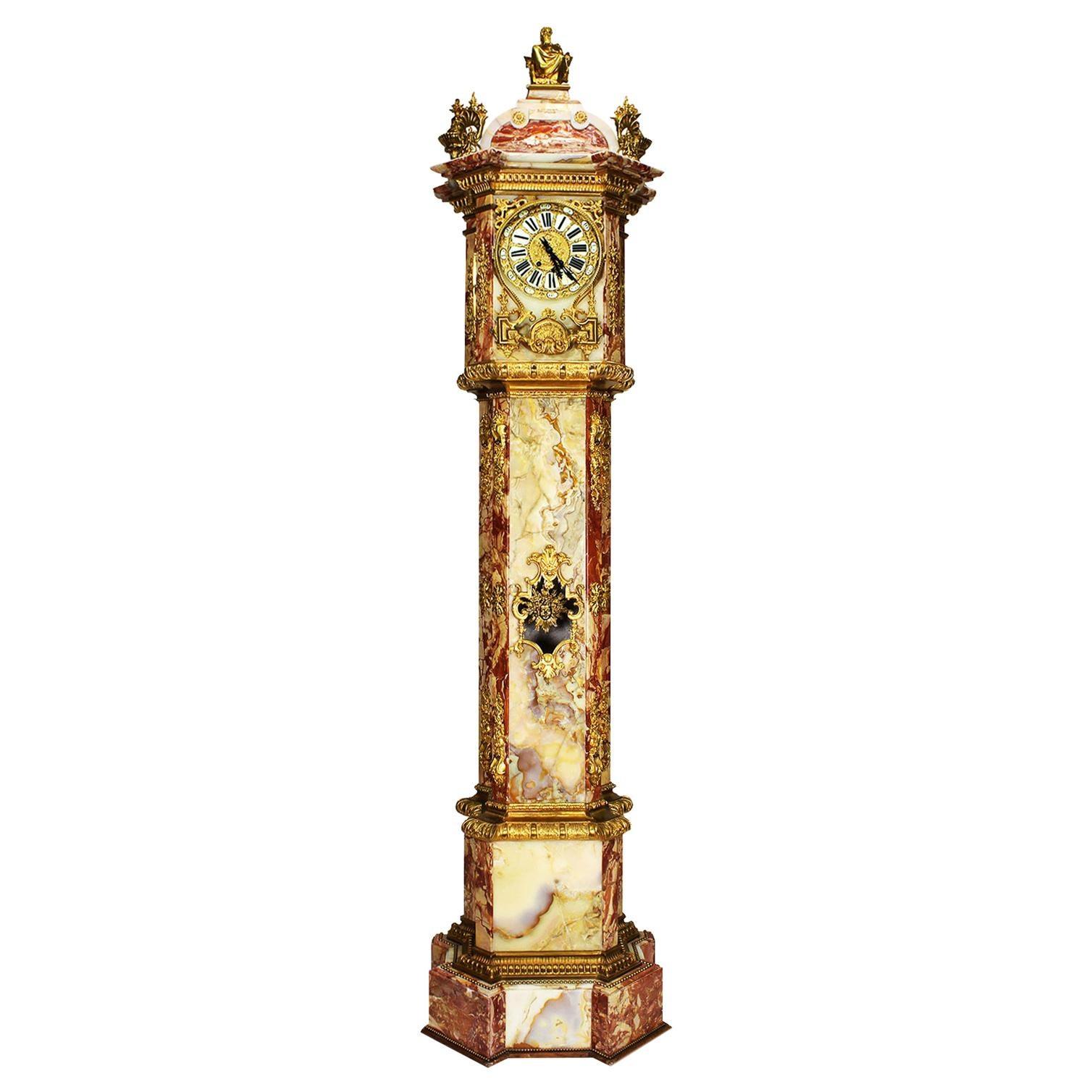 Monumental 19th Century Ormolu Mounted Onyx & Marble Longcase Grandfather Clock