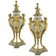 Monumental 19th Century Pair of French Rouge Marble and Gilt Bronze Urns