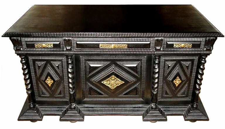 Baroque Monumental 19th Century Portuguese Desk and Table in Ebonized Brazilian Rosewood For Sale