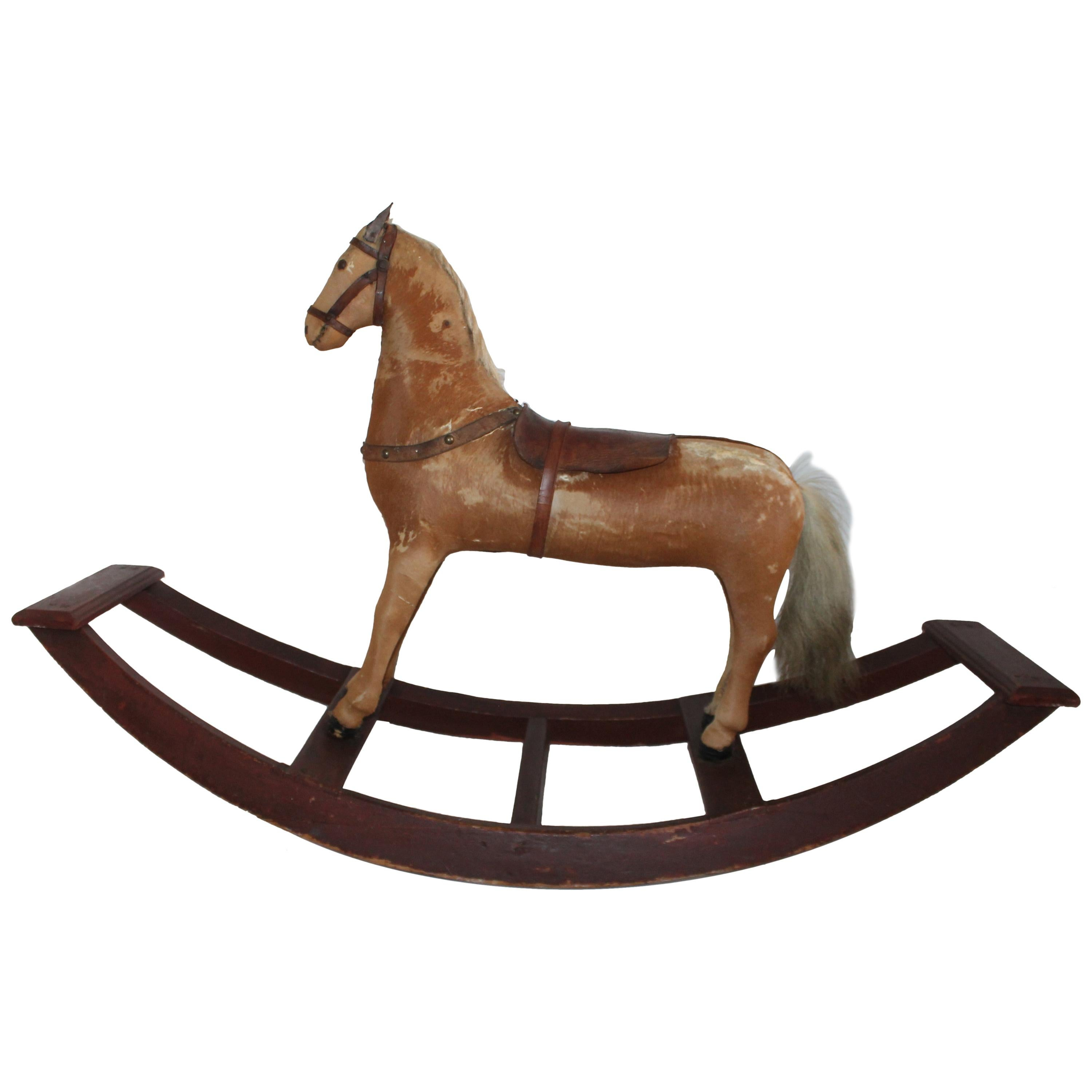 Monumental 19th Century Rocking Horse with Original Paint