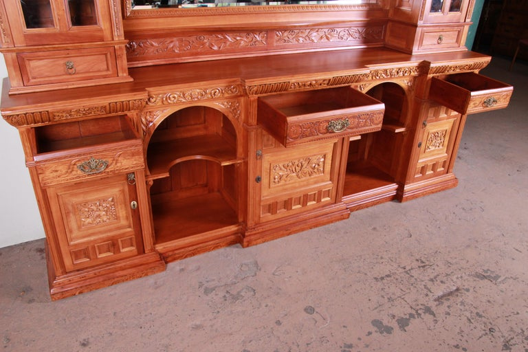 Monumental 19th Century Victorian Hand Carved Cherry Wood Bar Back or Sideboard For Sale 6