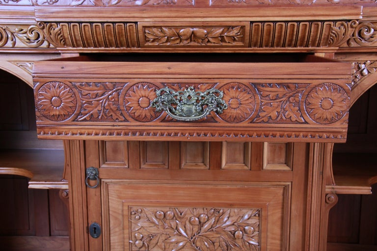 Monumental 19th Century Victorian Hand Carved Cherry Wood Bar Back or Sideboard For Sale 7