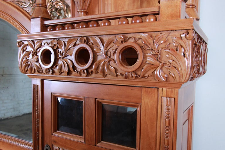 Monumental 19th Century Victorian Hand Carved Cherry Wood Bar Back or Sideboard For Sale 8