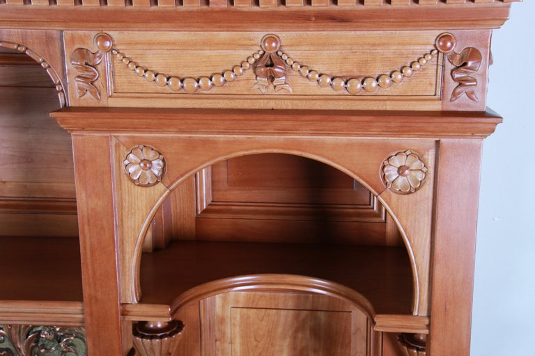 Monumental 19th Century Victorian Hand Carved Cherry Wood Bar Back or Sideboard For Sale 9
