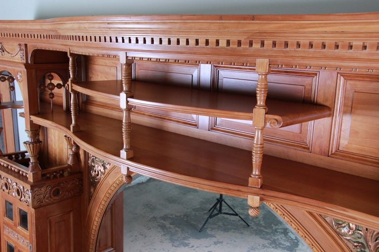 Monumental 19th Century Victorian Hand Carved Cherry Wood Bar Back or Sideboard For Sale 10