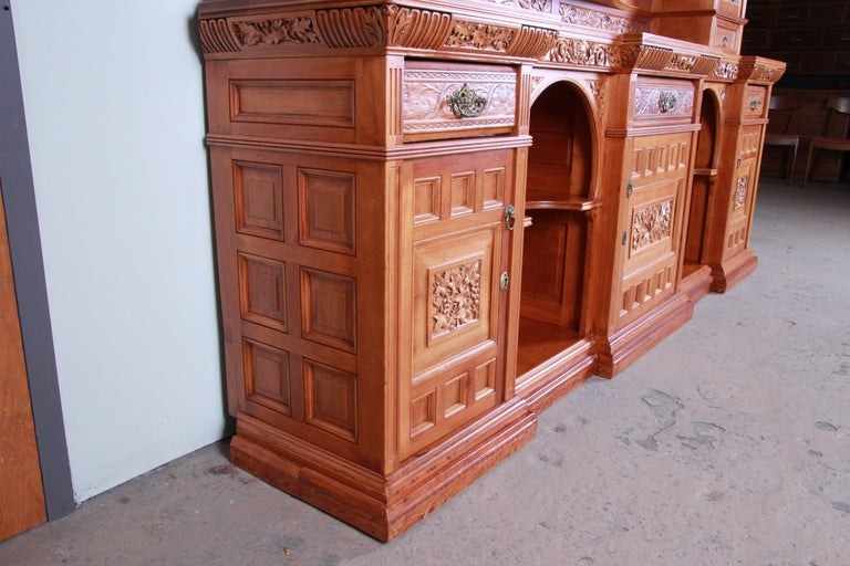 Monumental 19th Century Victorian Hand Carved Cherry Wood Bar Back or Sideboard For Sale 12
