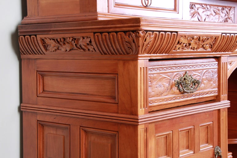 Monumental 19th Century Victorian Hand Carved Cherry Wood Bar Back or Sideboard For Sale 13
