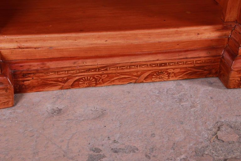 Monumental 19th Century Victorian Hand Carved Cherry Wood Bar Back or Sideboard For Sale 15