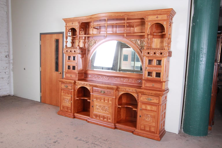 American Monumental 19th Century Victorian Hand Carved Cherry Wood Bar Back or Sideboard For Sale