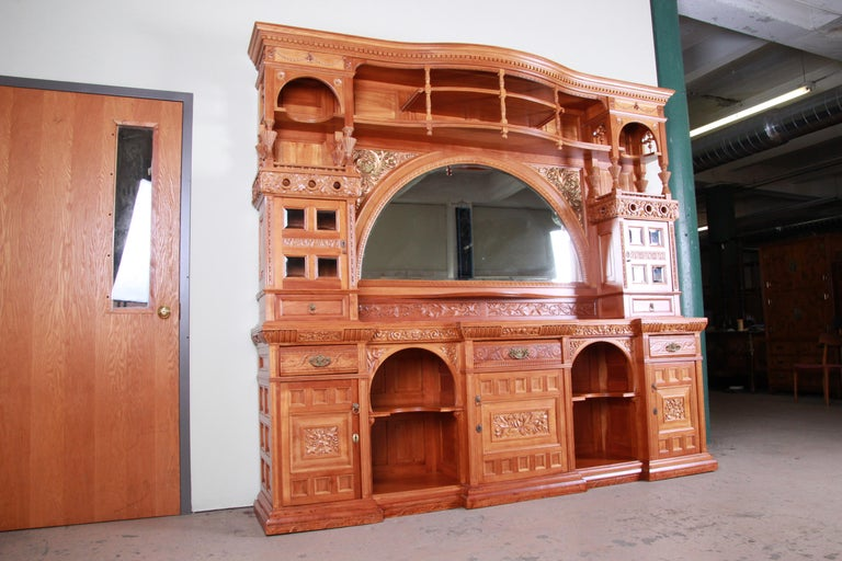 Hand-Carved Monumental 19th Century Victorian Hand Carved Cherry Wood Bar Back or Sideboard For Sale