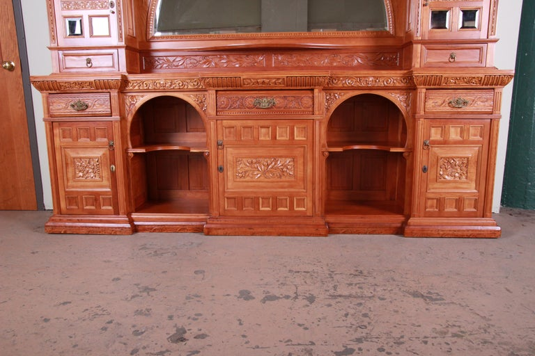 Monumental 19th Century Victorian Hand Carved Cherry Wood Bar Back or Sideboard In Good Condition For Sale In South Bend, IN