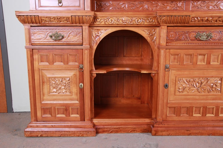 Monumental 19th Century Victorian Hand Carved Cherry Wood Bar Back or Sideboard For Sale 1