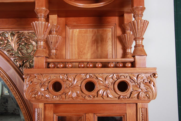 Monumental 19th Century Victorian Hand Carved Cherry Wood Bar Back or Sideboard For Sale 4