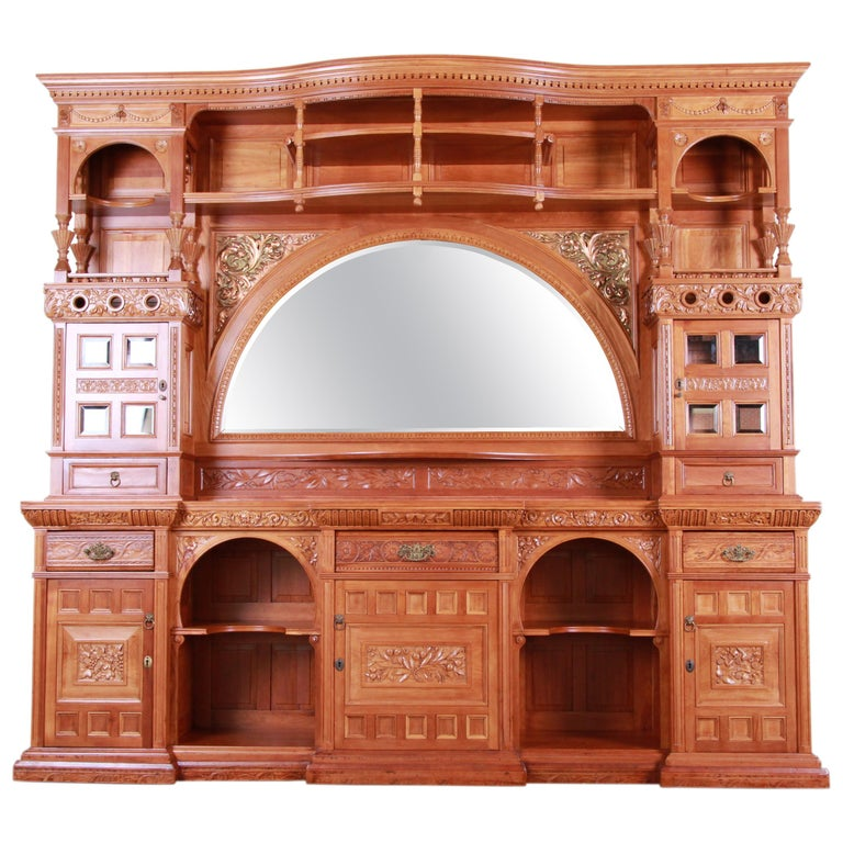 Monumental 19th Century Victorian Hand Carved Cherry Wood Bar Back or Sideboard For Sale