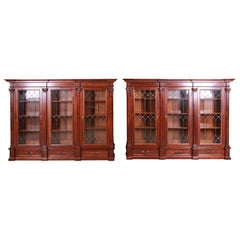 Monumental 19th Century Victorian Mahogany and Leaded Glass Triple Bookcases