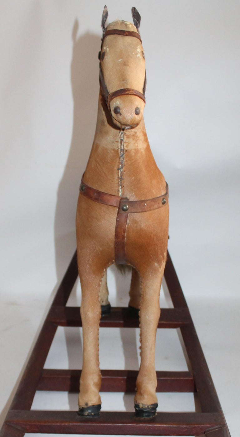 Monumental 19th Century Rocking Horse with Original Paint For Sale 5