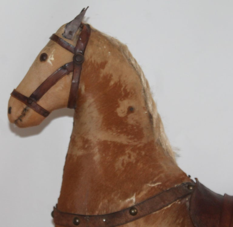 Adirondack Monumental 19th Century Rocking Horse with Original Paint For Sale