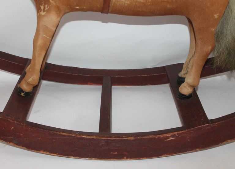 Hand-Crafted Monumental 19th Century Rocking Horse with Original Paint For Sale