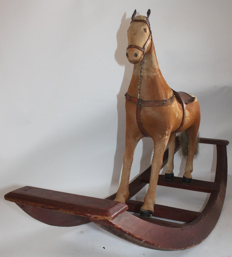 Leather Monumental 19th Century Rocking Horse with Original Paint For Sale
