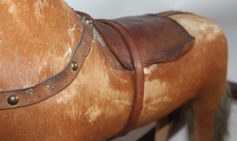 Monumental 19th Century Rocking Horse with Original Paint For Sale 1