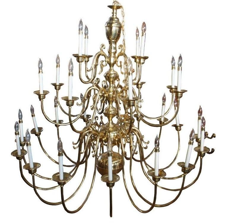 Monumental 28 arm brass chandelier Wakefield Livex lighting Williamsburg 60