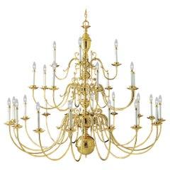 Monumental 28-Arm Brass Chandelier Wakefield Livex Lighting Williamsburg