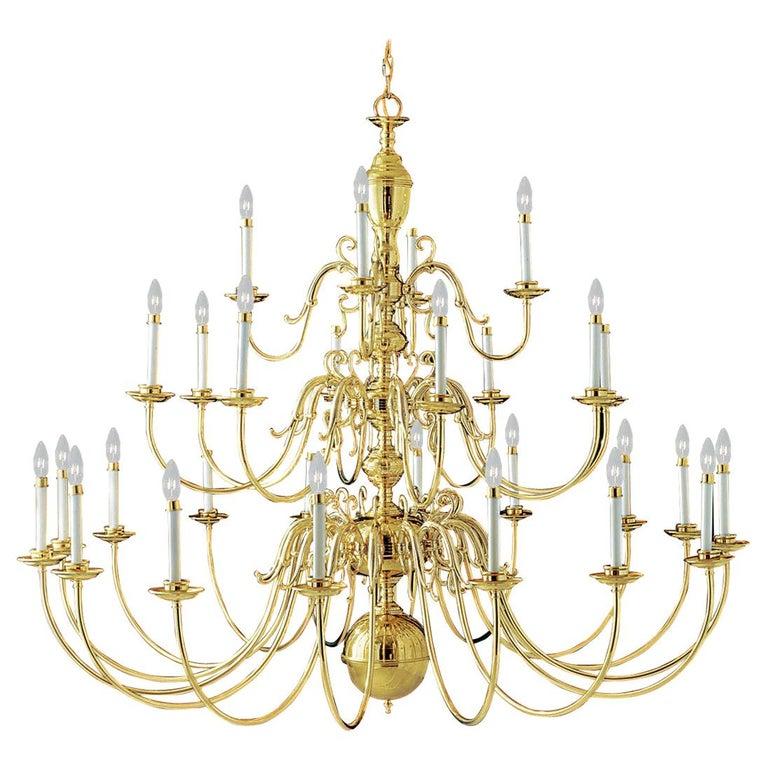 Monumental 28-Arm Brass Chandelier Wakefield Livex Lighting Williamsburg For Sale