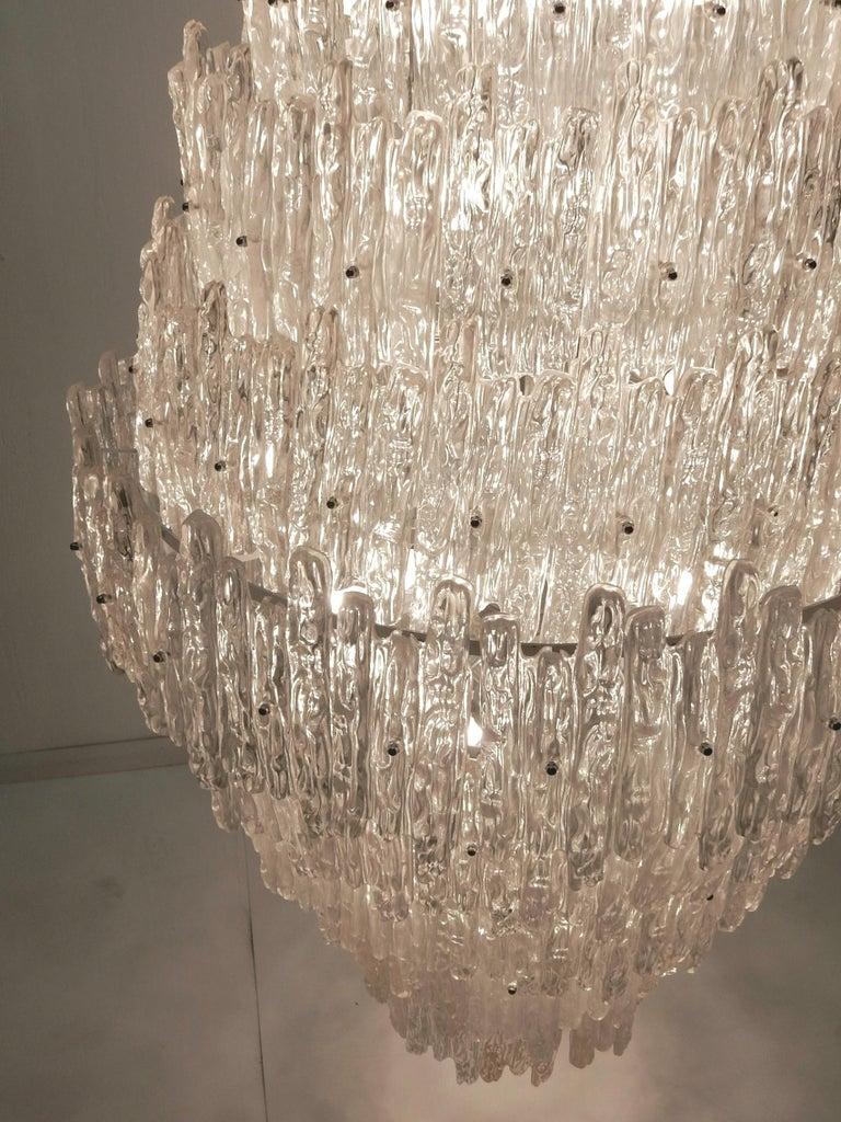 Mid-Century Modern Monumental J. T. Kalmar Lucite Ice Crystal Chandelier For Sale