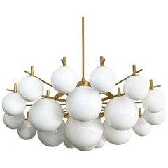"Monumental 60"" Brass and 21 Glass Globe Chandelier"