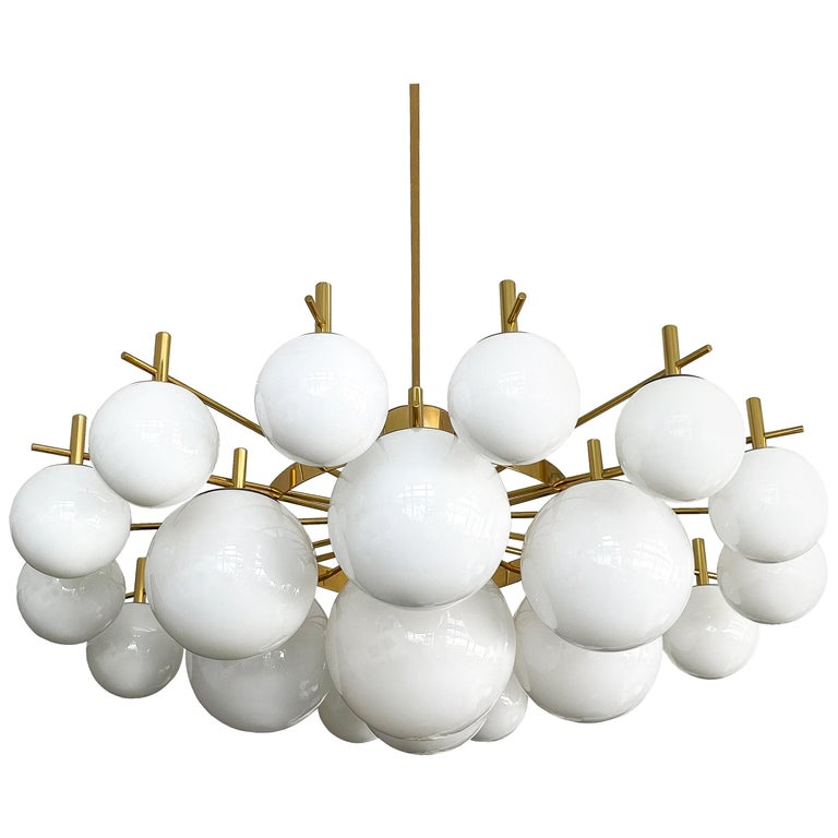 "Monumental 60"" Brass and 21 Glass Globe Chandelier For Sale"