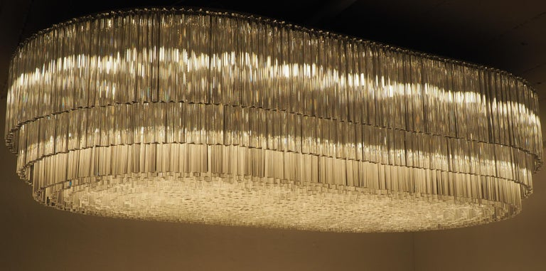 Monumental 70-Light Oval Murano Glass Chandelier, circa 1960s For Sale 11