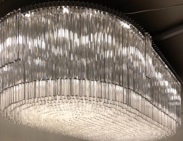 Patinated Monumental 70-Light Oval Murano Glass Chandelier, circa 1960s For Sale
