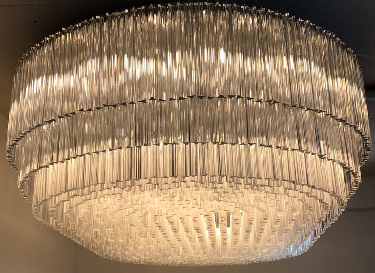 Metal Monumental 70-Light Oval Murano Glass Chandelier, circa 1960s For Sale