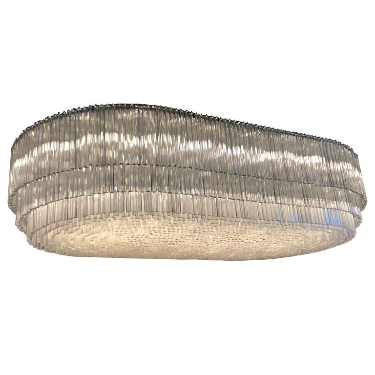 Monumental 70-Light Oval Murano Glass Chandelier, circa 1960s For Sale