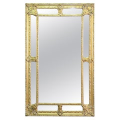 Monumental Gilded French Carved Louis XVI Glass Mirror