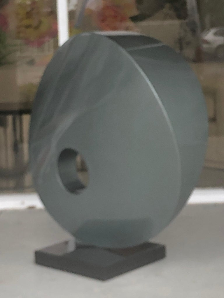 Monumental Abstract Modern Round Steel Sculpture For Sale 4