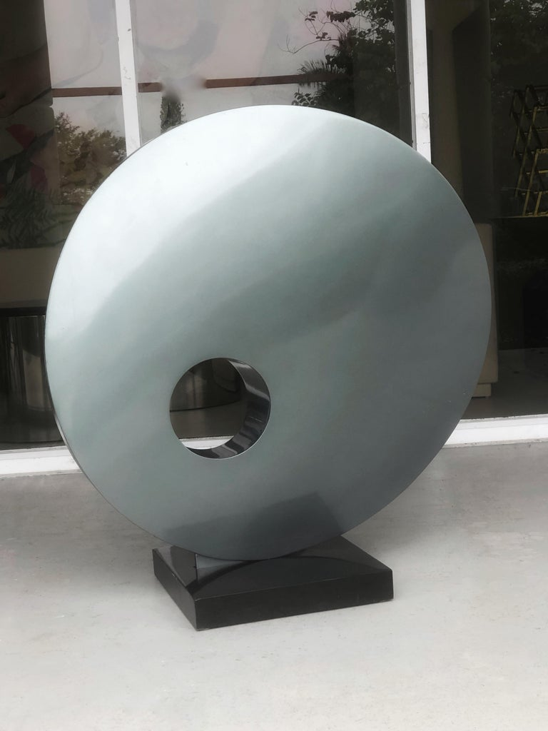 American Monumental Abstract Modern Round Steel Sculpture For Sale