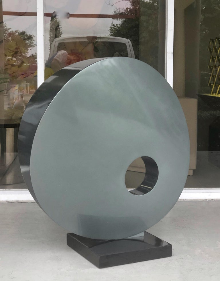 Enameled Monumental Abstract Modern Round Steel Sculpture For Sale