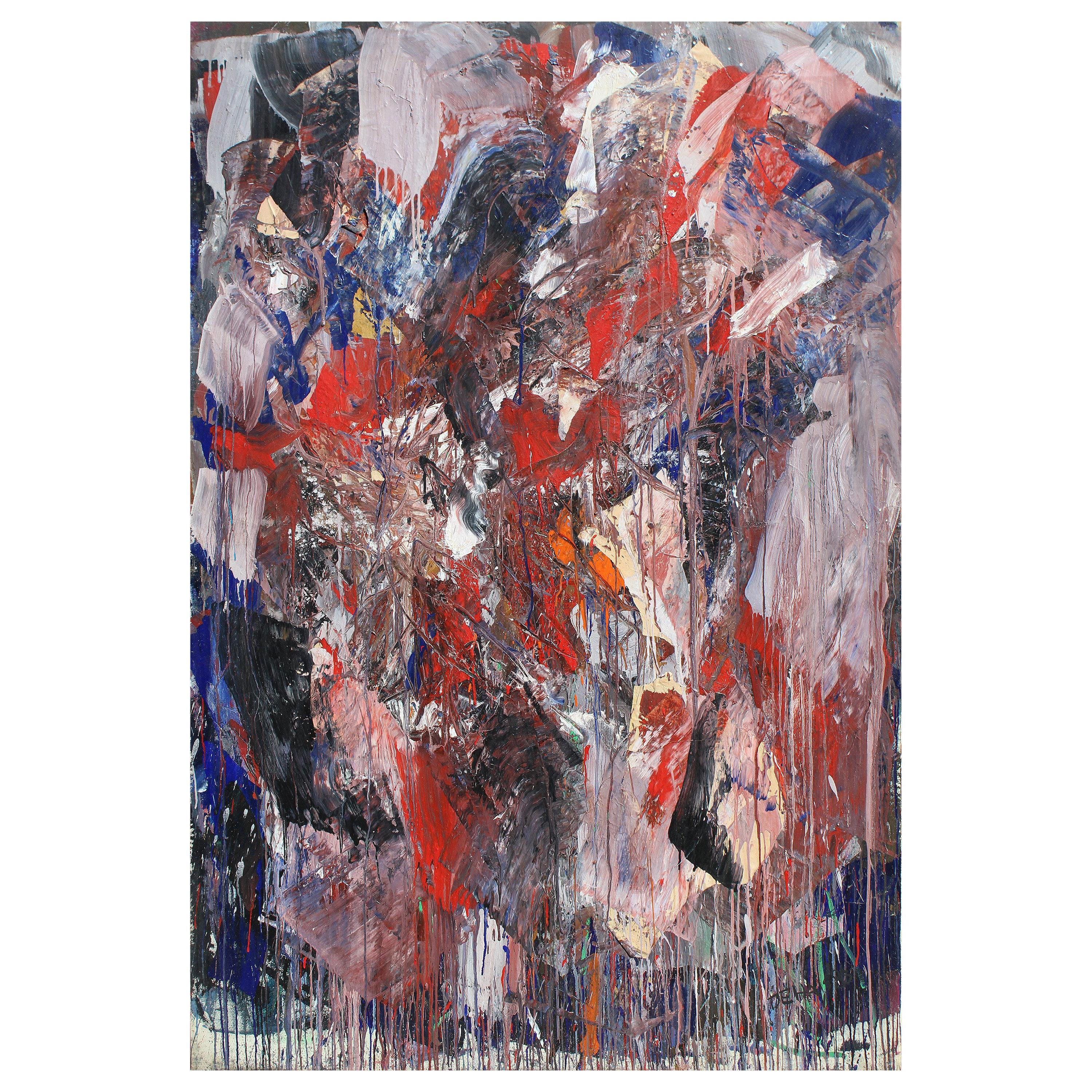 Monumental Abstract Oil Painting on Canvas by Dehais