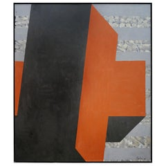 Monumental Abstract Oil Painting by Gerson Leiber Titled Tilted Blocks