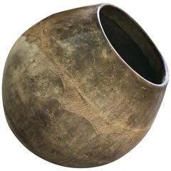 Monumental African Clay Storage Jar Having Incised Decoration