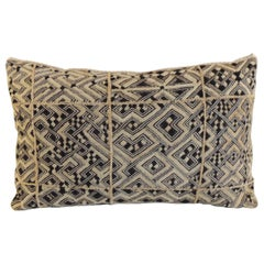 Monumental African Raffia Velvet Long Bolster Decorative Pillow