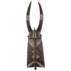 Monumental African Tribal Burkina Faso Horned Bobo Ceremonial Mask Helmet