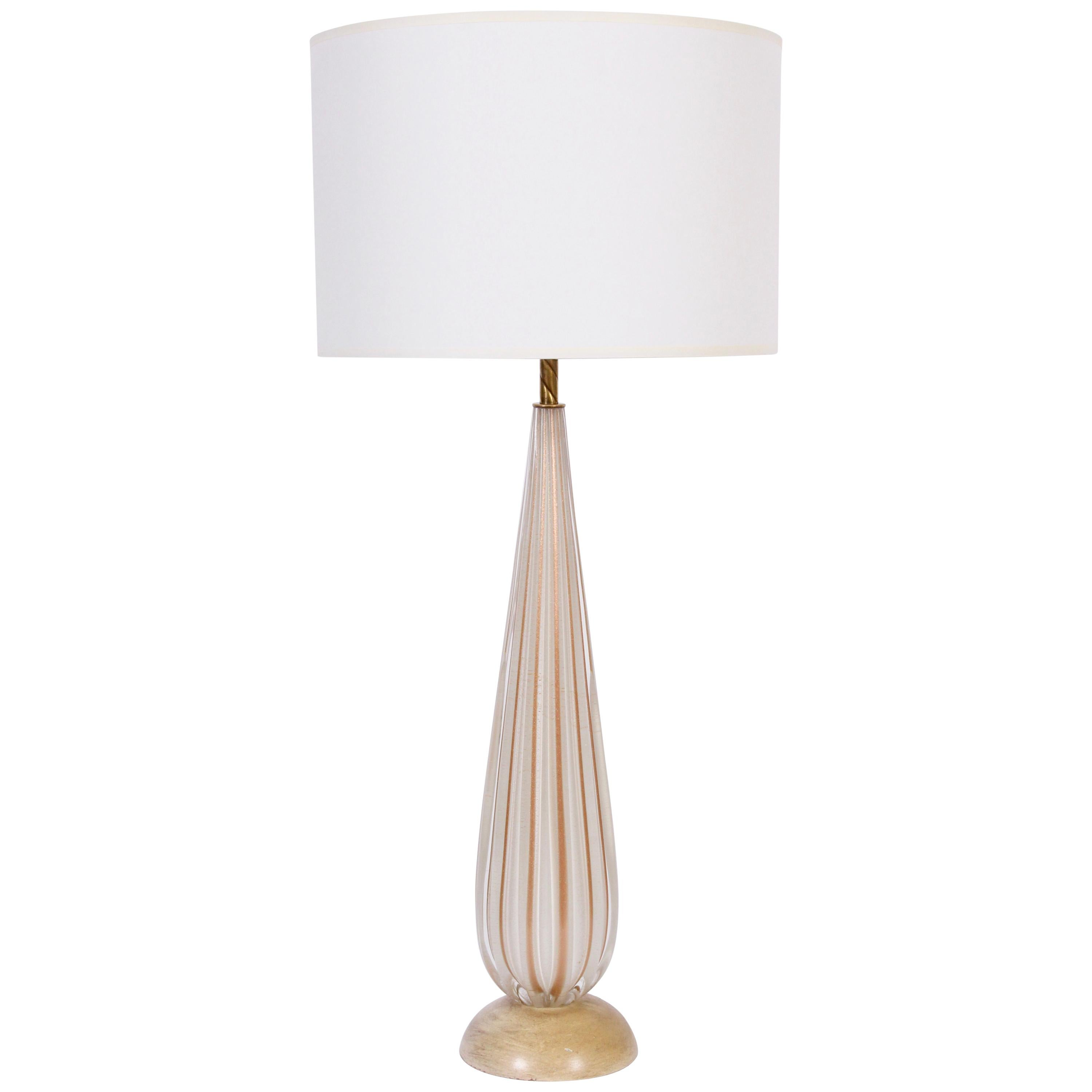 Tall Alfredo Barbini White Ribbed Murano Glass Table Lamp with Gold Inclusions