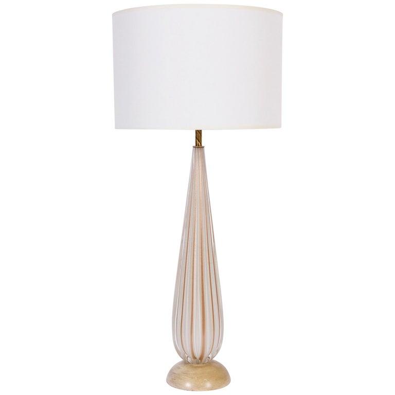 Tall Alfredo Barbini Ribbed Murano Glass Table Lamp In White Copper