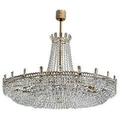 Monumental and Spectacular Crystal Basket Chandelier