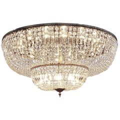 Monumental and Spectacular Flush Mount Crystal Basket Chandelier