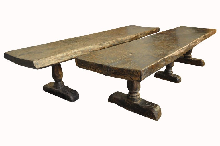 Monumental and Very Rare Pair of 16th Century Spanish Castle Tables In Good Condition For Sale In Atlanta, GA