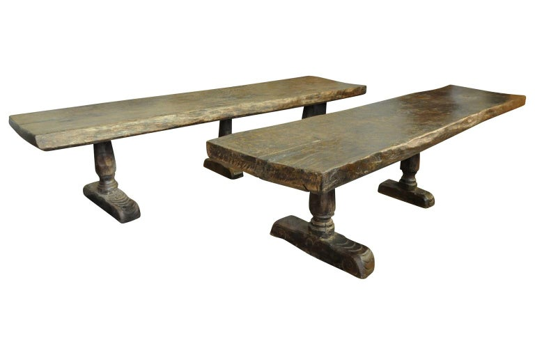 18th Century and Earlier Monumental and Very Rare Pair of 16th Century Spanish Castle Tables For Sale
